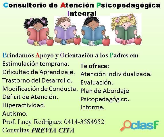 Consultorio de atención psicopedagógica integral. brindamos apoyo y orientación a los padres en: