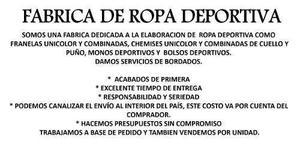 Fabrica de ropa deportiva inversiones talara en Venezuela ... e4284b6fea44