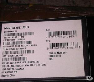 "Vendo NUEVA SELLADA Tableta de 7"" modelo nexus 7 2012 16 gb"