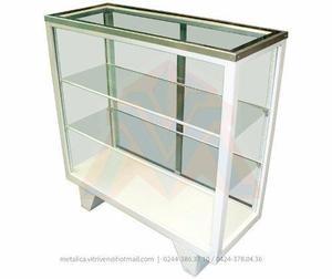 Vitrina mostrador para exhibicion tapa en vidrio