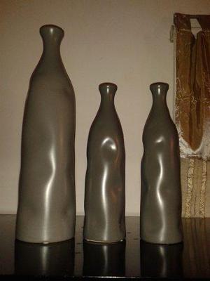 2 jarrones decorativos casa moderna en color gris - Jarrones Decorativos