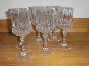 Juego 6 copas vino clasf for Copas de cristal
