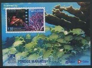 Estampilla cuba 2011 corales y peces en hoja recuerdo