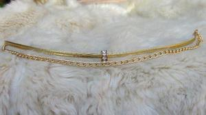 Choker dorado cadena y dije cristal swarovski mayor y detal