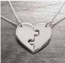 Rompecabezas dije personalizado grabado corazon en plata