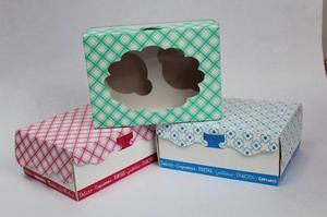 Cajas con ventana para 2 o 3 dulces, 4 cupcakes con base.