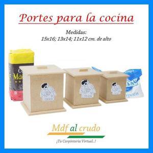 Potes de cocina en madera mdf al crudo para pintar y decorar