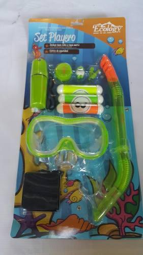 Full set careta buceo snorkel playa lente niños tapon oido