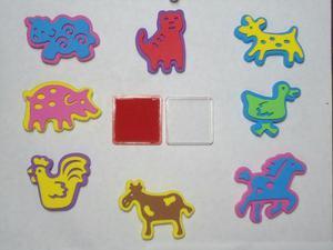 Kit de sellos de foami merletto figuras animales escuela