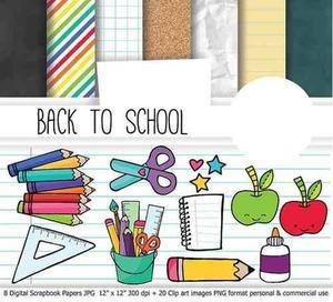 Kit imprimible pack fondos escuela colegio clase 1 clipart