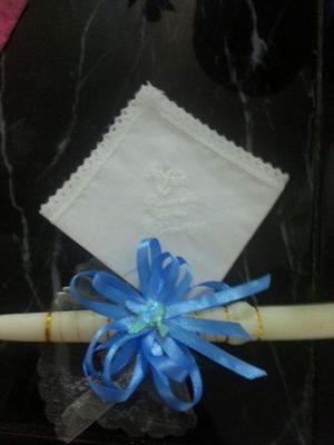 Recuerdo bautizo vela pañuelo santos rosarios denario