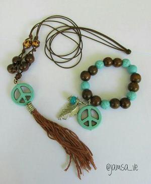 13bc61fe01a0 Juego de collar largo con pulsera medallon vintage turquesa en ...