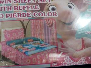 Sabana individual de 7 piezas y sus cortinas para niñas