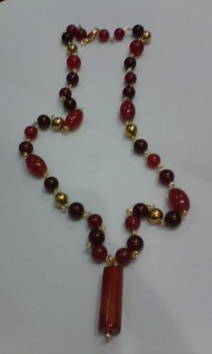 1c017a17ccab Collar piedras de coralina y acero para caballero en Maracaibo ...