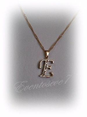 bc934ed6c5fa Dije inicial letra e con cadena oro laminado 18k en oferta