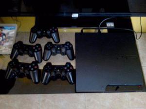 Play station 3 slim de 320 gb 5 controles y 5 juegos fisicos