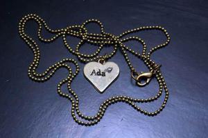 Dije personalizado forma corazón collar vintage moda galu