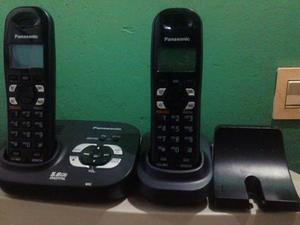 Equipo de teléfono doble inalámbrico negro