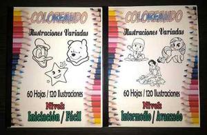 Libros para colorear dibujos variados 60 hojas 120 imagenes en ...