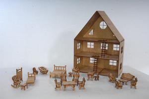 Casa de muñecas armable, incluye 21 accesorios!!