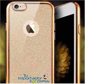 Forro estuche 2en1 transparente escarchado iphone 7 8 brillo