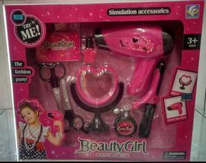 Set de peluquería juguete secador plancha espejo niñas