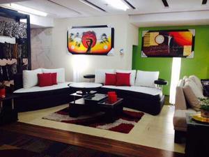 Juego de sala, mueble sofa cama, modular, semicuero