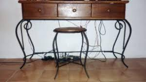 Peinadora 5 gavetas. madera + hierro forjado con banquito