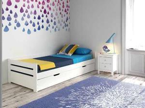 Sofa cama blanco, crudo, madera de pino