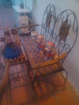 Juego de sillas de jardin madera y hierro forjado