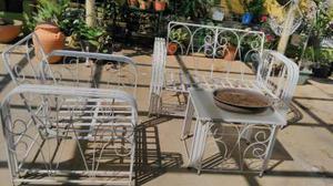 Juego muebles hierro forjado jardin porche balancin