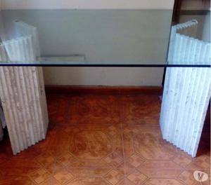 Mesa comedor de 6 puestos con bases de mármol
