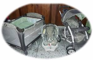 Combo graco delux corral cuna coche porta bebe usado 3 en 1