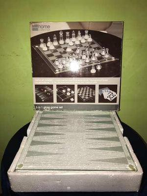 Juego de mesas 5 en 1 de vidrio, completo como nuevo