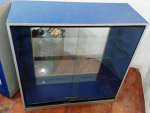 Mostrador exhibición vitrina vidrio madera formica