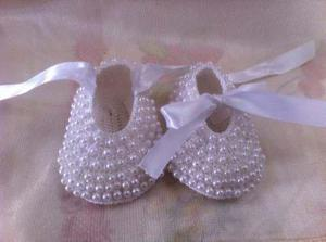Zapatos de perlas tejidos para bebe niña, bautizo fiesta