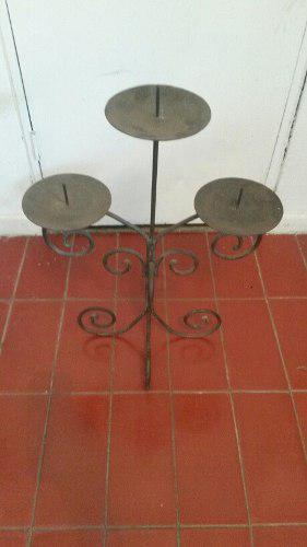 Candelabro de 3 velas en hierro forjado