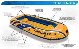Bote inflable challenger 3, bomba, remos de lona casi nuevo