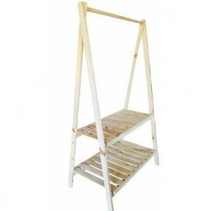 Perchero pino madera ropa rack exhibidor desarmable