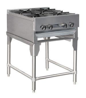 Cocina a gas industrial 4 hornillas de tope en acero inox