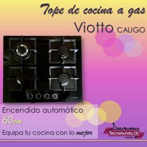 Tope de cocina a gas 60 cm vitrocerámica 4h viotto caligo