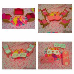 Accesorios muebles y sillas casa de muñeca barbie en mdf
