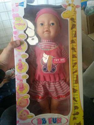 Muñeca bebe llora rie toma tetero. juguete niña nuevo