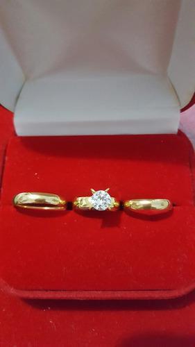 Aros de bodas mas anillo de compromiso en acero inoxidable