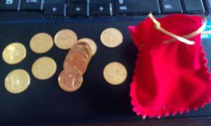Bellas Arras Monedas Enchapadas En Oro 18 K Matrimoniales.