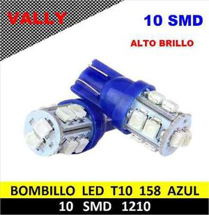 Bombillo muelita led t10 azul alto brillo carros motos und