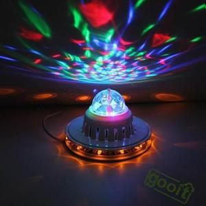 Mini bola giratoria led rgb crystal dj party