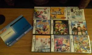 Nintendo 3ds xl azul + 9 juegos originales
