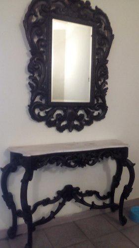Consola de madera con mármol y espejo biselado