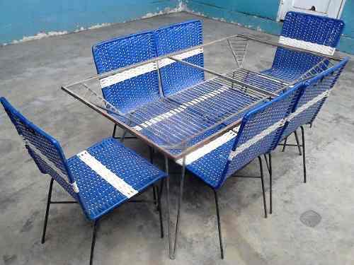Juego de 6 sillas tejidas y mesa + mesita en hierro forjado